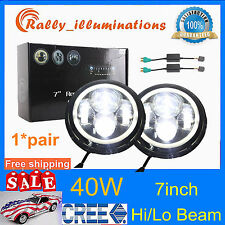 "2X 7"" 40W Round LED Headlights Halo Angle Eyes For Jeep Wrangler JK TJ Hi/Lo RAL"