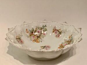 Moritz Zdekauer MZ Austria Pink Roses Porcelain Serving Bowl, 19th Century