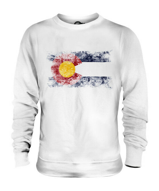 COLORADO STATE DISTRESSED FLAG UNISEX SWEATER TOP COLORADAN SHIRT JERSEY GIFT