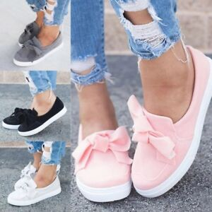 WOmen-039-s-ROund-Toe-Flats-Low-Top-Fashion-Sneakers-Pull-On-Loafers-Bowknot-Shoes