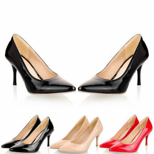 Womens-Slip-On-Classic-Party-Pumps-Stilettos-Dress-Shoes-Pointed-Toe-High-Heels