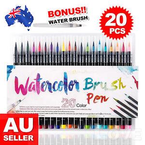 20-Colour Pens Watercolor Drawing Painting Brush Artist Sketch Manga Marker OZ