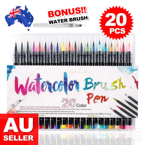 20Colour Pens Watercolor Drawing Painting Brush Artist Sketch Manga Marker OZ