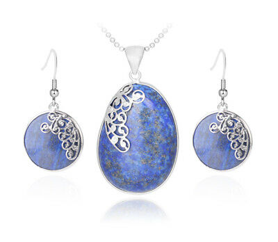 Industrious S746e Set Lapislazuli Blue Necklace With Pendant Earring Silver Plated To Reduce Body Weight And Prolong Life Fine Jewelry Sets Fine Jewelry