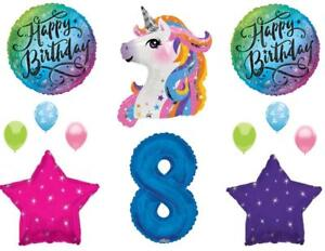 Image Is Loading Blue 8th Neon RAINBOW UNICORN Happy Birthday Party