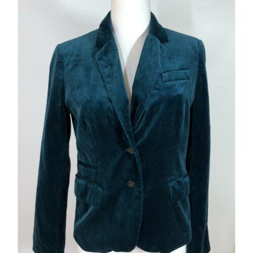 J Crew Womens 10 Schoolboy Blazer Velvet Teal Blue