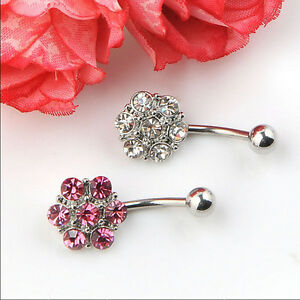 Rhinestones-Flower-Surgical-Steel-Barbell-Piercing-Belly-Button-Navel-RingQ6Q