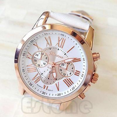 New Women Stylish Geneva Numerals Faux Leather Analog Quartz Wrist Watch