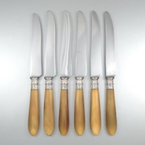 horn handle engraved Paris french antique knives in a box set of 6