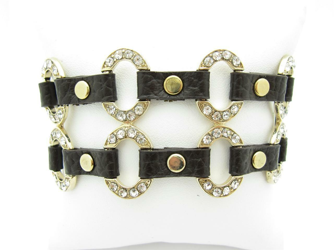 18KT YELLOW gold PLATED WHITE AUSTRIAN CRYSTAL WIDE BROWN LEATHER BRACELET GIFT