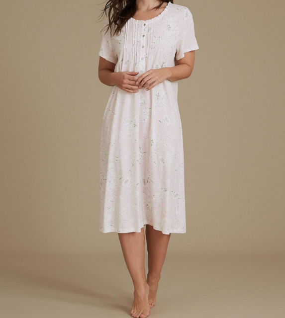 Ex Store Mid Length Long Sleeve Modal Nightdress