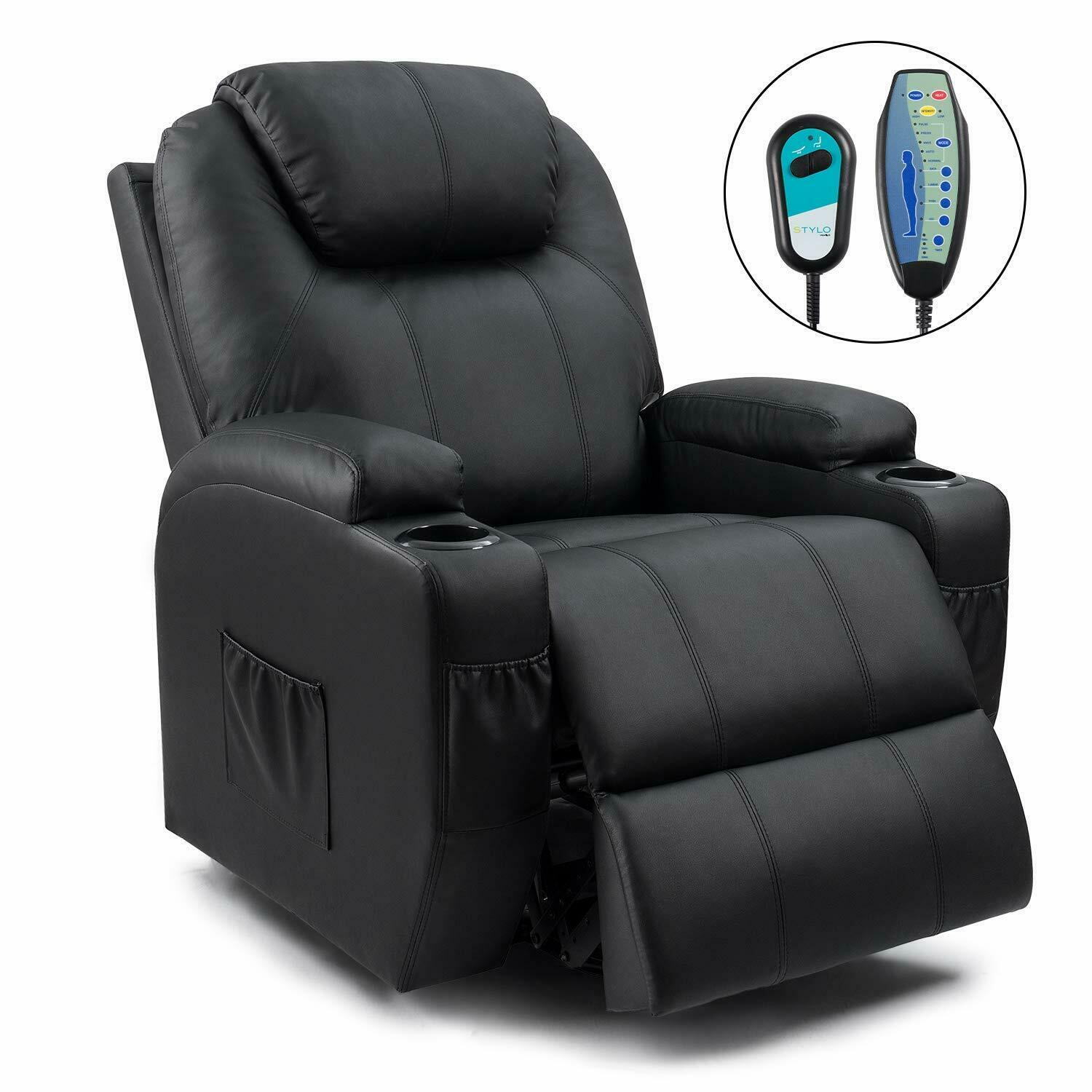 Recliner Chair Power Lift Massage Heating Living Room Sofa Black Faux Leather