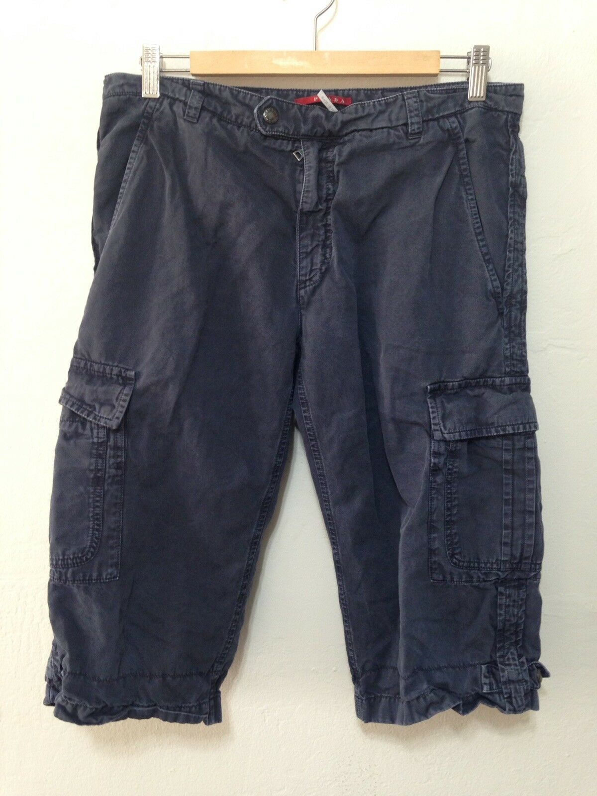 G448 Women's Prada Cotton Linen Blend Cargo Shorts Charcoal Size 32