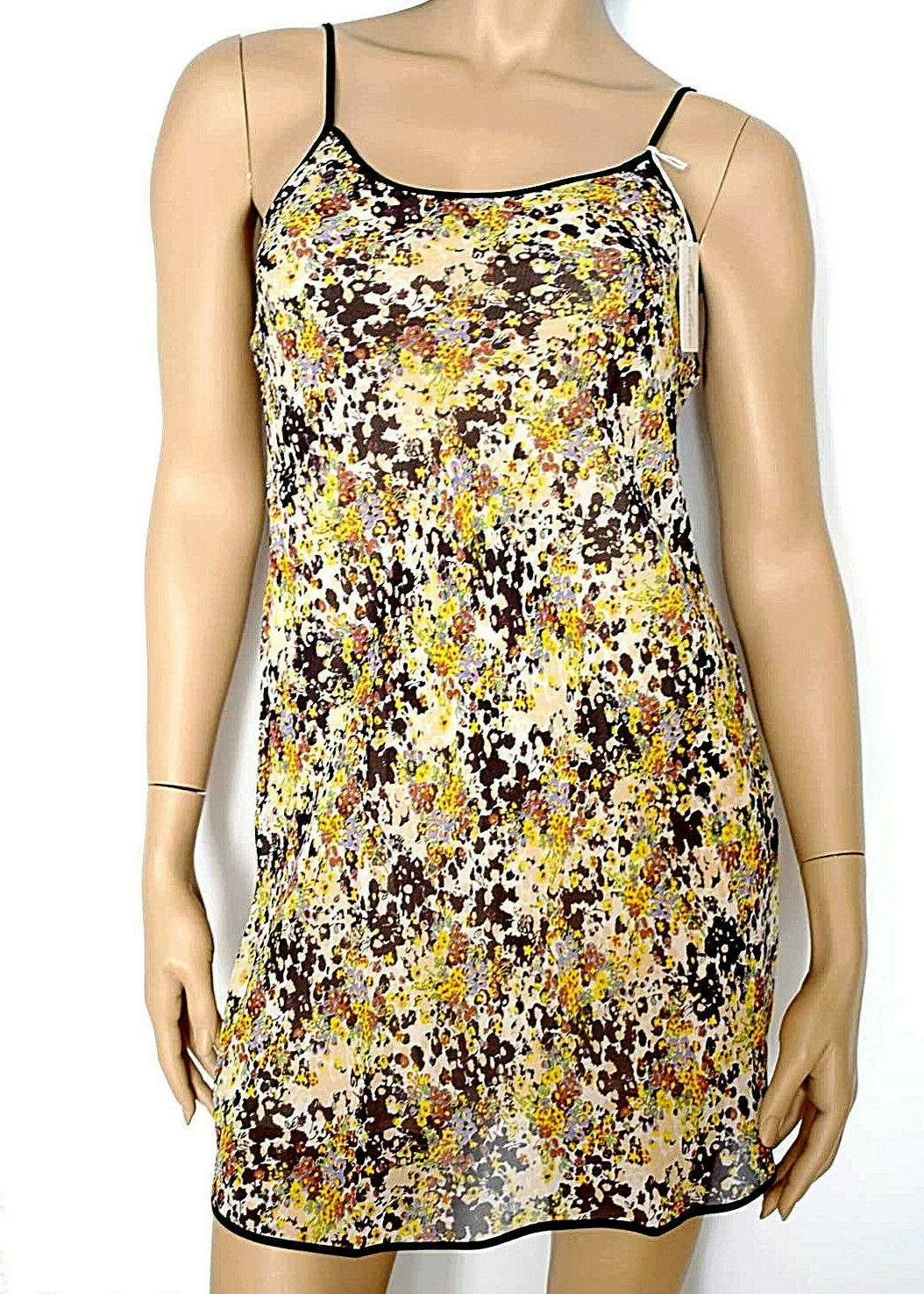 Marjolaine Babydoll Dress 100% Silk Sizes S 38 & M   40 color Printed Flowers'
