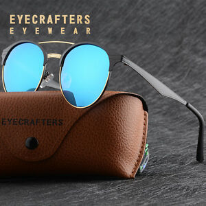 Fashion-Polarized-Sunglasses-Mens-Womens-Retro-Round-Mirrored-Eyewear-Glasses