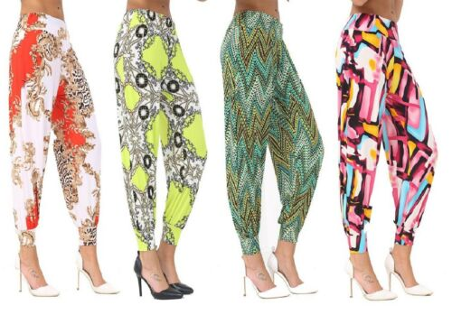 Latest Ladies//Women Plain /&  Printed Alibaba Harem Style Trousers All UK Sizes