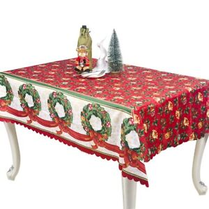150 180cm Red Table Cloth Christmas Tablecloth Printed Cover Wedding Decor Ebay