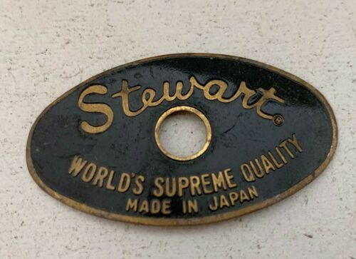 STEWART MIJ Drum Badge 60s 70s Vtg Pearl Stencil Part Black Brass Oval Logo