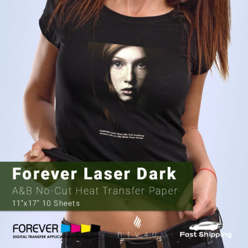 "No-Cut 10 Sheets A /& B Heat Transfer Paper 11/"" x 17/"" Forever Laser Dark"