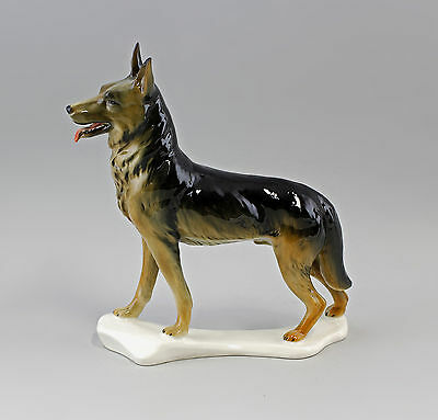 Hearty Porcelain Figurine Dog German Shepherd Ens 9 3/8x9 3/8in 9941567 Antiques