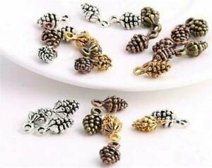 Christmas-Jewelry-50Pcs-Antique-Silver-Bronze-Charms-DIY-3D-Pine-Cone-Pendants