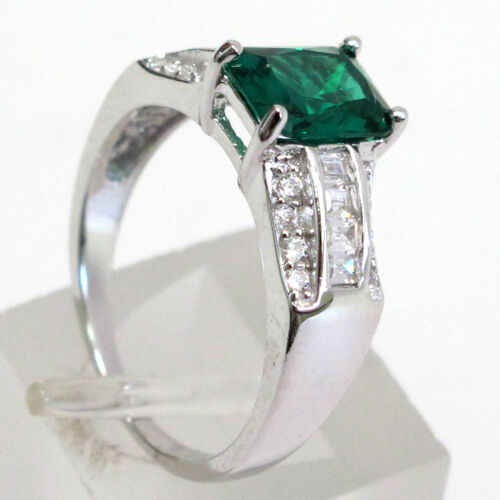 CLASSY 1.5 CT EMERALD 925 STERLING SILVER RING SIZE 5-10