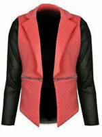 New Ladies Womens PVC Quilted Waterfall Zip Blazer Full Sleeves Jacket Coat Top