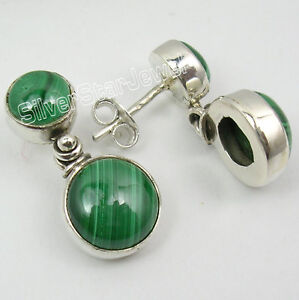 100-NEW-Handmade-1-Pair-925-Solid-Silver-Rare-MALACHITE-STUDS-Earrings-0-9-034
