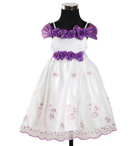 Other Newborn-5t Girls Clothes Fine New Flower Girl Party Pageant Dress In Purple,burgundy,pink 6-24 Months Relieving Rheumatism