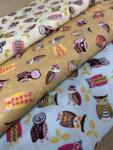 Blue Multicolour Owl Print Fabric 100/% Cotton Poplin Dressmaking Crafts Quilting