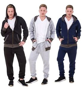 New-Mens-Tracksuit-Branded-Fleece-Hooded-Zipper-Cotton-Jogging-Bottoms-S-to-XXL