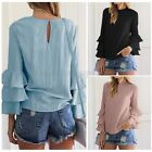 ZANZEA Elegant Womens Bell Sleeve Crew Neck Loose Casual Solid Blouse Shirt Tops