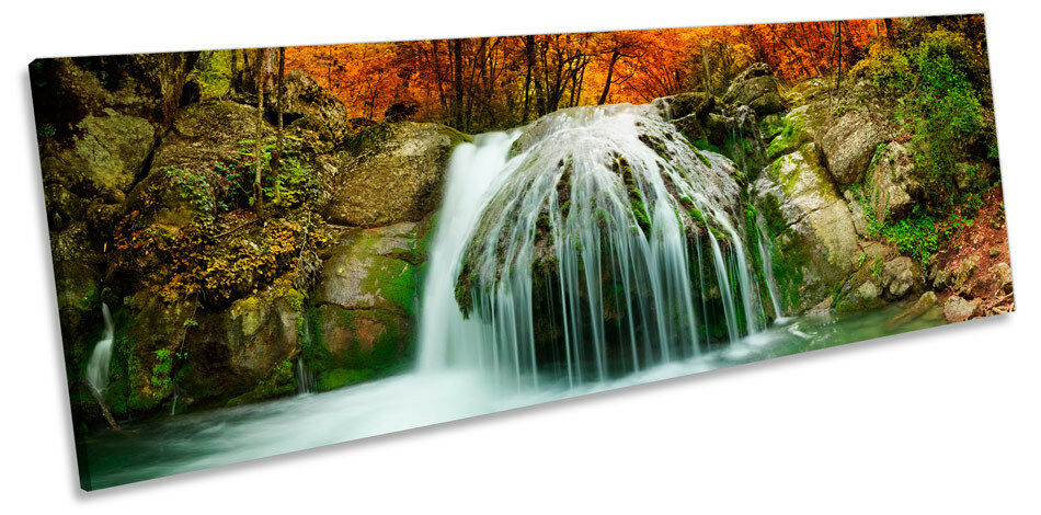 Forest Landscape Waterfall River CANVAS WALL ART Panoramic Framed Print Print Print 45432b