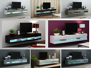 Image Is Loading Tv Stand Cabinet With Led Lights High Gloss