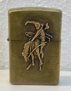 Vintage Zippo Marlboro Bucking Bronco Cowboy Brass Lighter 1990s Used F IX
