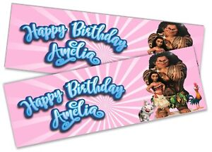 x2 Personalised Birthday Banner Moana Children Kids Party Decoration Poster 6