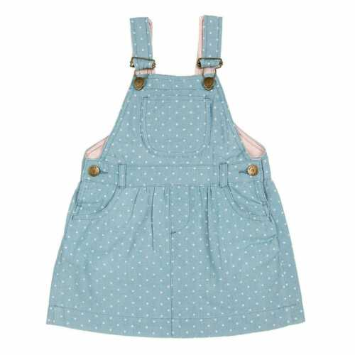 Dotty Dungarees Blue Denim Pink Spotted Dress Brand New RRP £36