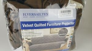 """H.VERSAILTEX BROWN Extra Large Quilted Thick Velvet Plush Sofa Couch Cover 78"""""""