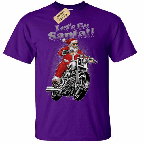 Kids Boys Girls Lets Go Santa christmas biker motorbike xmas T-Shirt