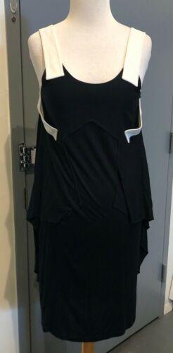 Givenchy Black Viscose/Silk White Cami Strap Dress
