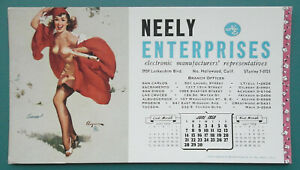 PIN-UP-GIRL-Graduate-Dress-Blown-Away-JUNE-1959-INK-BLOTTER-Neely-Electronics