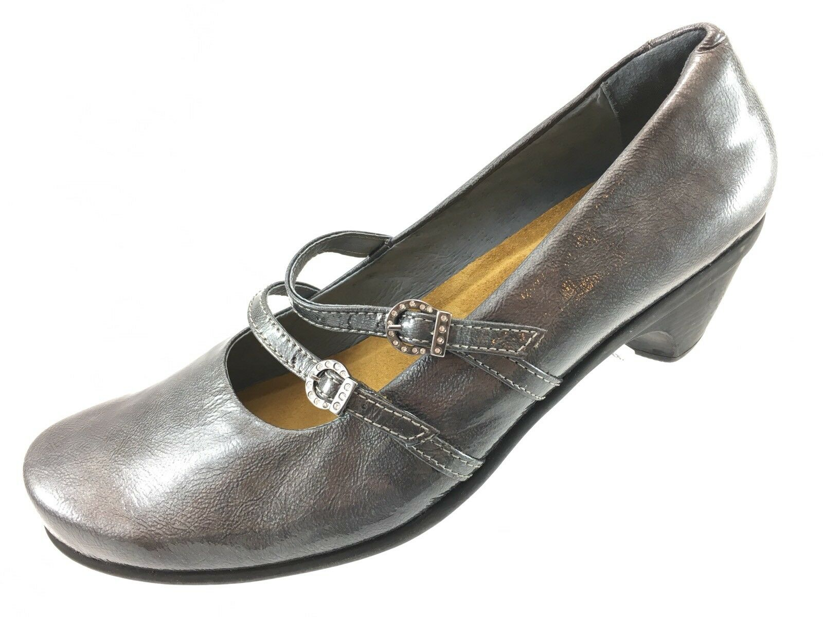 SH2 NAOT US 11 EUR Patent 42 Pewter Gray Textured Patent EUR Leather Mary Jane Block Heel 9742ab