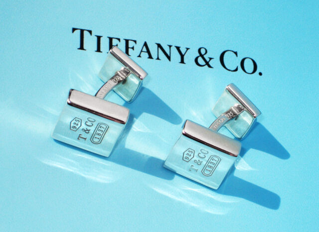 Tiffany & Co 1837 Sterling Silver MENS Square Cuff Links