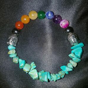 ZEN Chakra Stones,Turquoise Howlite Chips, BUDDHA, Stretchy Bracelet, REIKI!