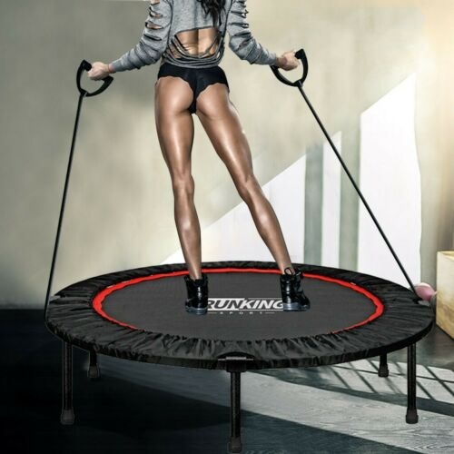 Mini Foldable Trampoline With Bar Cardio Fitness Bouncing Exercise Workout NEW