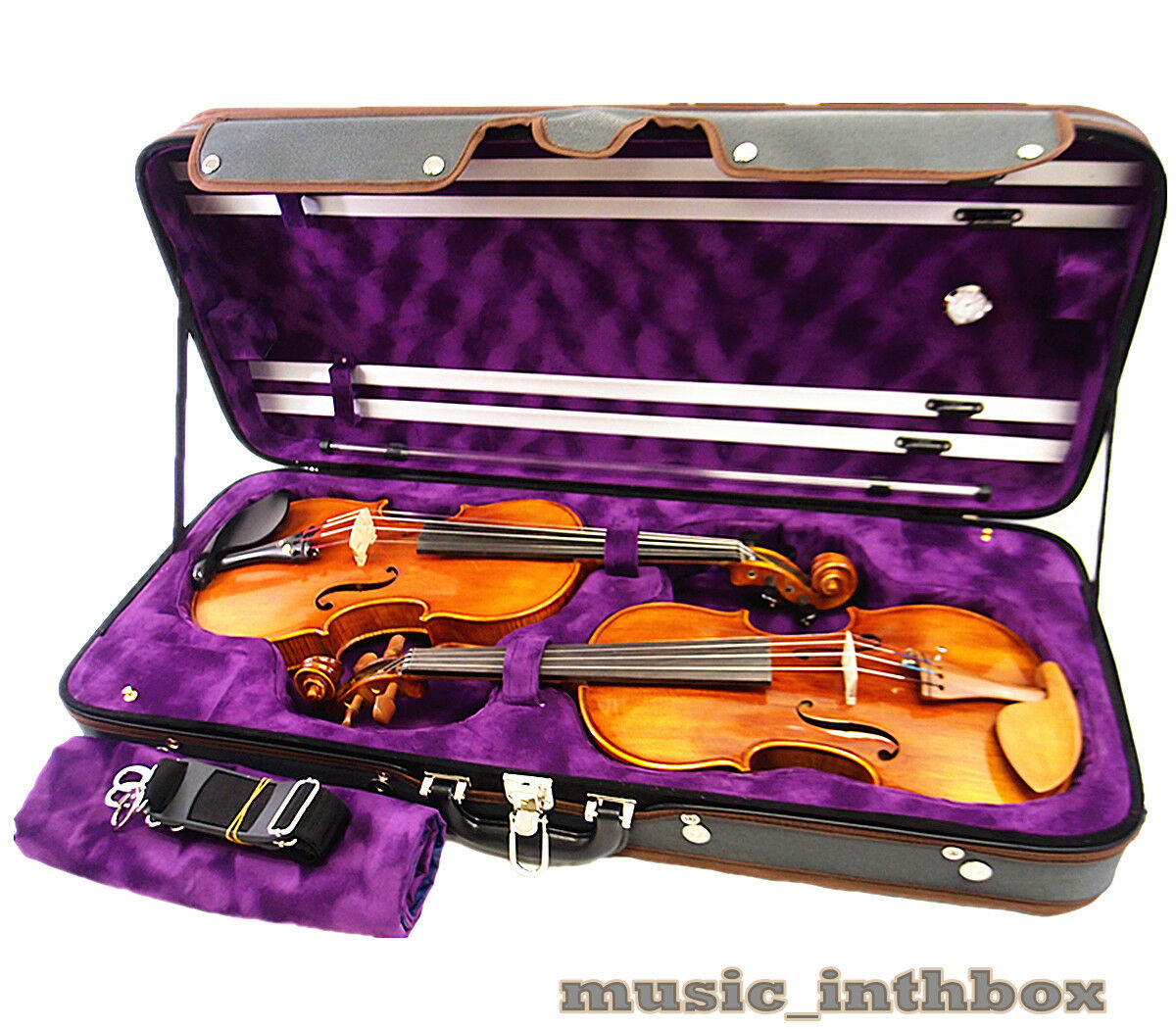 Beautiful Interior 4 4 Wooden Two Double Violin Case + Free violin strings set