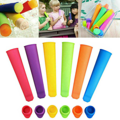 Pack of 6 Ice Cream Maker Popsicle Mold Set Silicone Tray Pop Frozen Mould