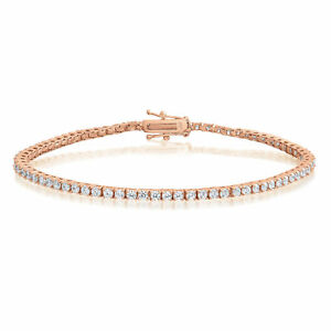 Rose-Gold-over-Sterling-Silver-2mm-Cubic-Zirconia-Tennis-Bracelet-Round-CZ