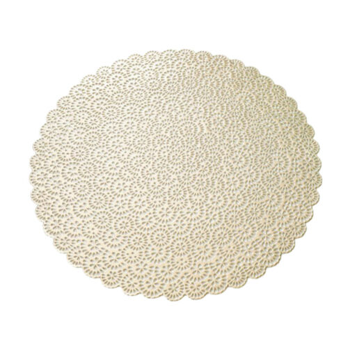 PVC Round Placemat Dining Table Tea Cup Mug Coaster Hollowed-out 15inch
