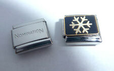 SNOWFLAKE Italian Charm + 1x Nomination Classic Link - SNOW HAPPY CHRISTMAS N195